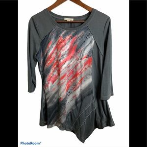 3/$30 Spanner grey abstract top size medium